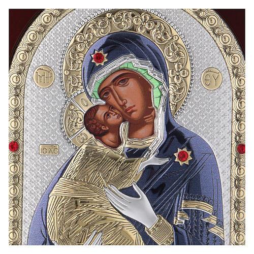 Icône en sérigraphie Vierge de Vladimir argent 20x15 cm 2
