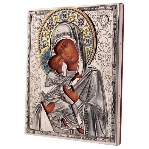 Icona smaltata Madonna di Vladimir con riza 25x20 cm Polonia 3