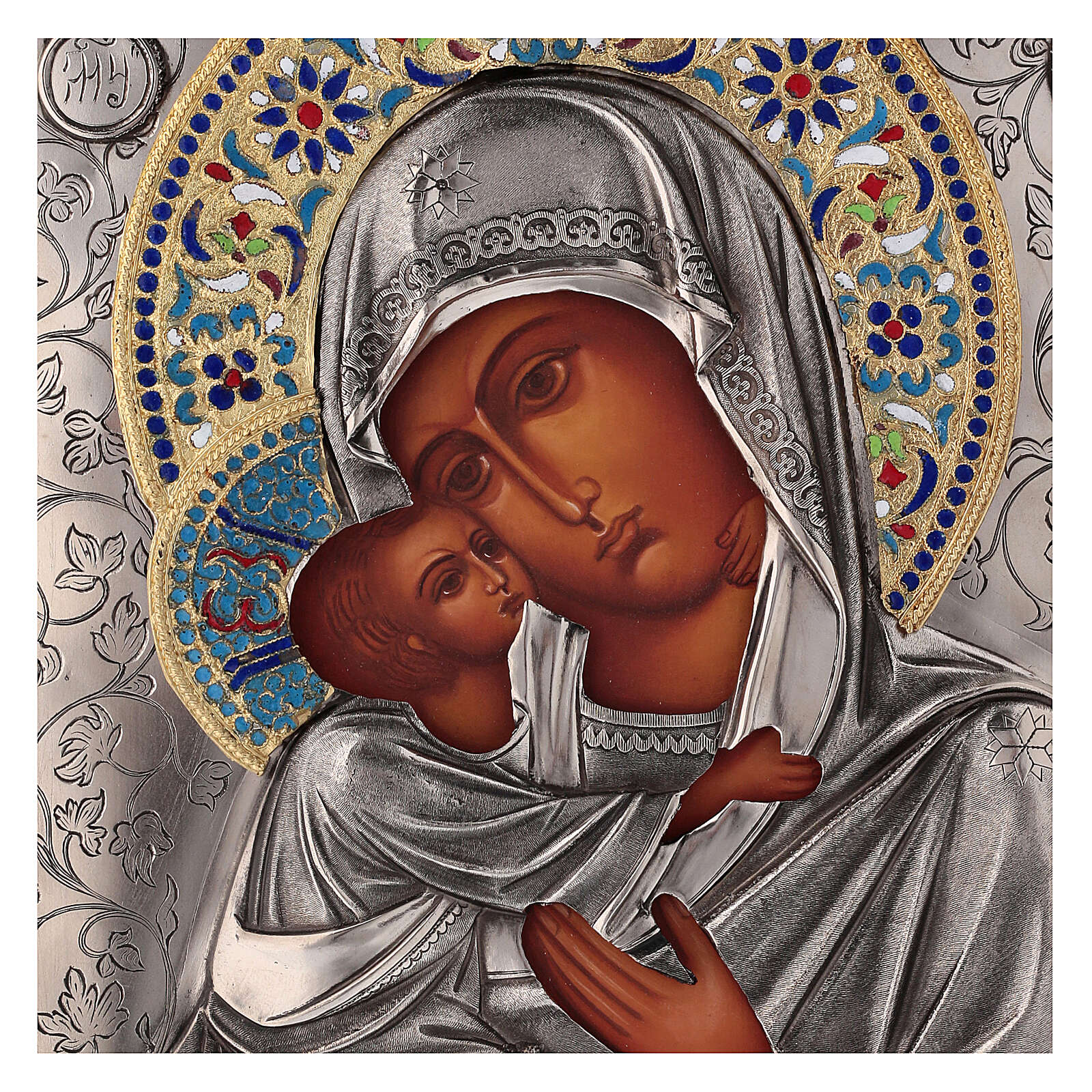 Icon Virgin of Vladimir with riza, enamelled 25x20 cm Poland 4