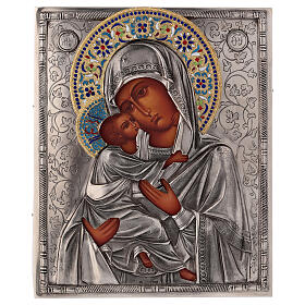 Icon Virgin of Vladimir with riza, enamelled 25x20 cm Poland s1
