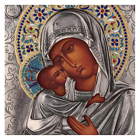 Icon Virgin of Vladimir with riza, enamelled 25x20 cm Poland s2