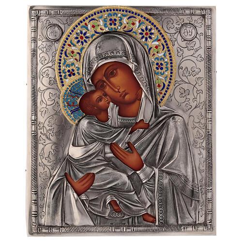 Icon Virgin of Vladimir with riza, enamelled 25x20 cm Poland 1