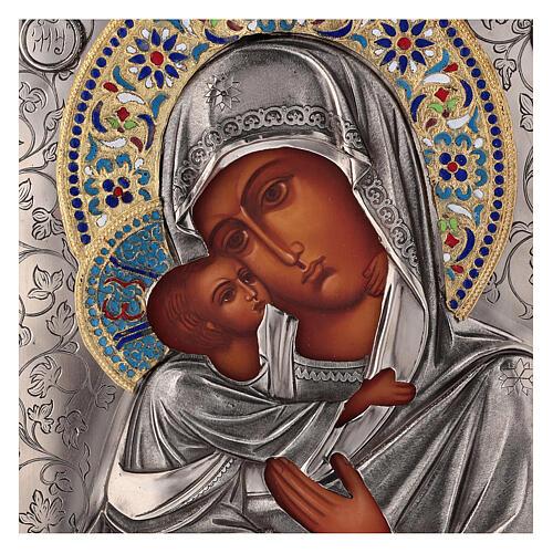 Icon Virgin of Vladimir with riza, enamelled 25x20 cm Poland 2