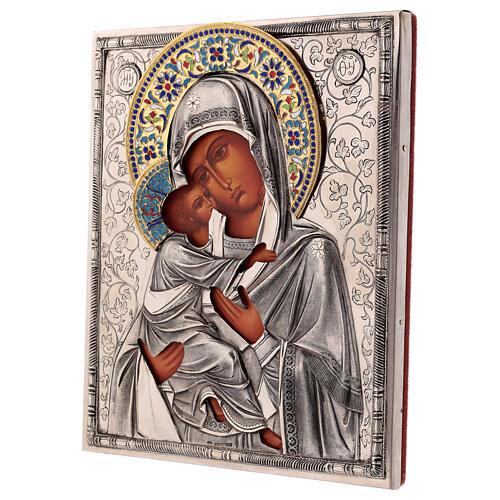 Icon Virgin of Vladimir with riza, enamelled 25x20 cm Poland 3