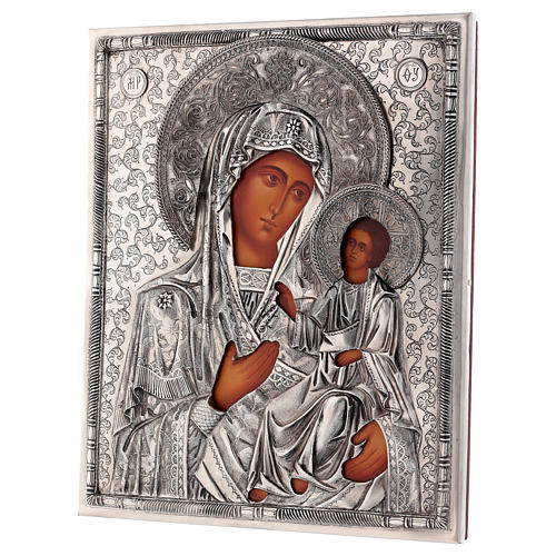 Icona Madonna di Ivron con riza dipinta 25x20 cm Polonia 3