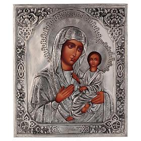 Icône Vierge de Tikhvine avec riza peinte 30x25 cm Pologne s1