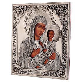 Icône Vierge de Tikhvine avec riza peinte 30x25 cm Pologne s3
