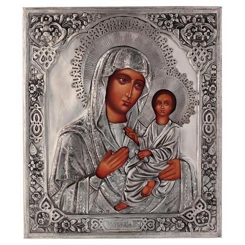Icône Vierge de Tikhvine avec riza peinte 30x25 cm Pologne 1