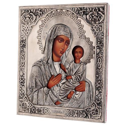 Icône Vierge de Tikhvine avec riza peinte 30x25 cm Pologne 3
