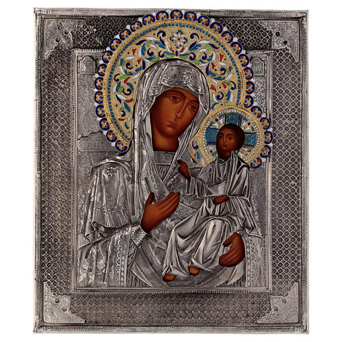 Icona smaltata Madonna di Ivron dipinta con riza Polonia 25x20 cm 1