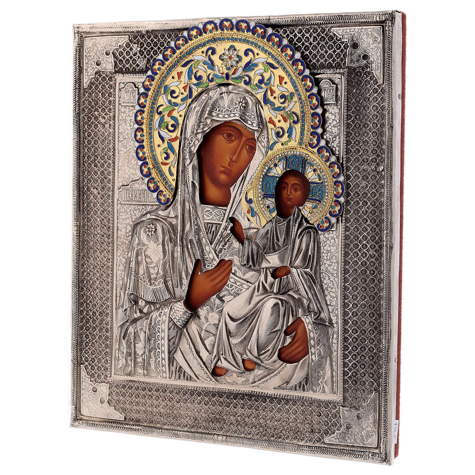 Ícone esmaltado Nossa Senhora de Íveron pintada com riza em prata Polónia 26x22 cm 4