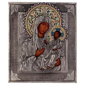 Ícone esmaltado Nossa Senhora de Íveron pintada com riza em prata Polónia 26x22 cm s1