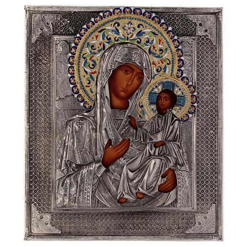 Ícone esmaltado Nossa Senhora de Íveron pintada com riza em prata Polónia 26x22 cm 1