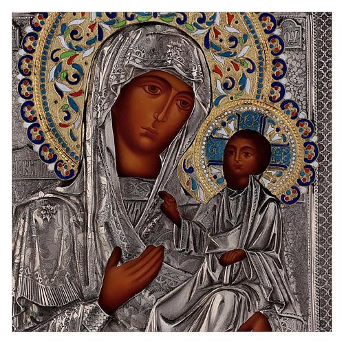 Ícone esmaltado Nossa Senhora de Íveron pintada com riza em prata Polónia 26x22 cm 2