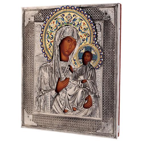 Ícone esmaltado Nossa Senhora de Íveron pintada com riza em prata Polónia 26x22 cm 3