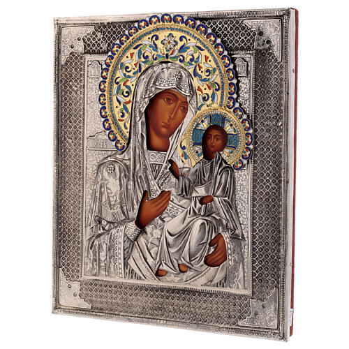 Icon enamelled Our Lady of Iveron, painted with riza Poland 25x20 cm 3