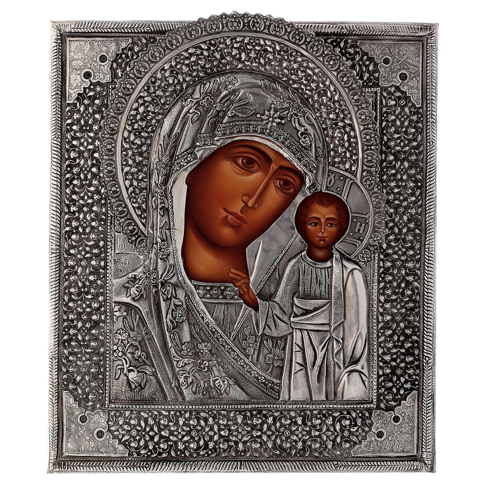 Icona Madonna di Kazan con riza dipinta a mano 30x25 cm Polonia 4