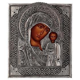 Icona Madonna di Kazan con riza dipinta a mano 30x25 cm Polonia s1