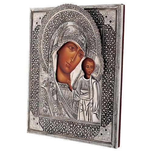 Icona Madonna di Kazan con riza dipinta a mano 30x25 cm Polonia 3