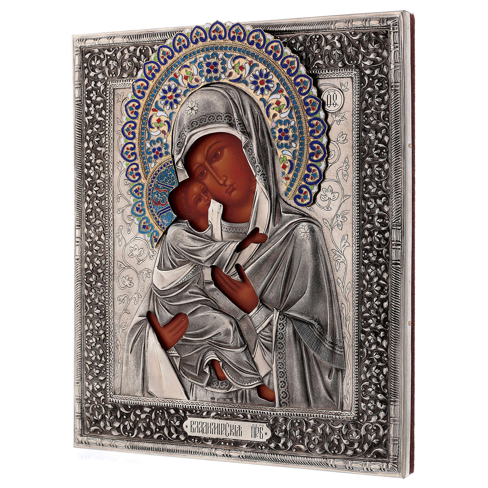 Icona smaltata Madonna di Vladimir dipinta riza 30x25 cm Polonia 4