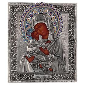 Ícone esmaltado Nossa Senhora de Vladimir pintada à mão com riza em prata 31x26,5 cm Polónia s1