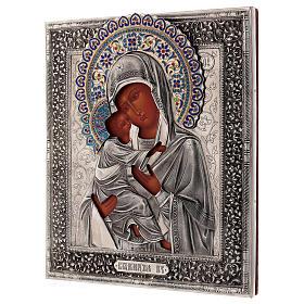 Ícone esmaltado Nossa Senhora de Vladimir pintada à mão com riza em prata 31x26,5 cm Polónia s3