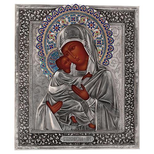 Ícone esmaltado Nossa Senhora de Vladimir pintada à mão com riza em prata 31x26,5 cm Polónia 1