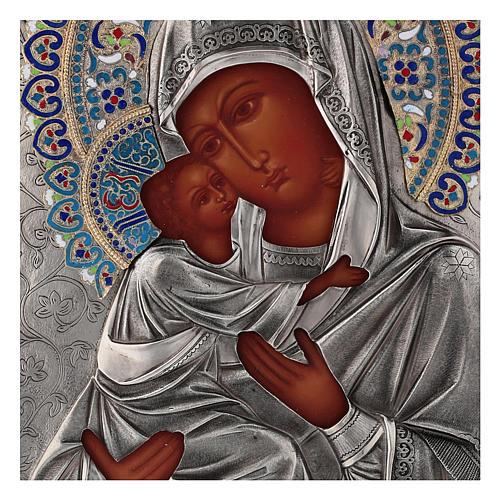 Ícone esmaltado Nossa Senhora de Vladimir pintada à mão com riza em prata 31x26,5 cm Polónia 2
