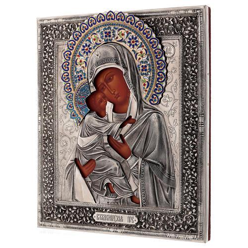 Ícone esmaltado Nossa Senhora de Vladimir pintada à mão com riza em prata 31x26,5 cm Polónia 3