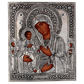 Icône Mère de Dieu aux trois mains 30x25 cm Pologne peinte riza s1