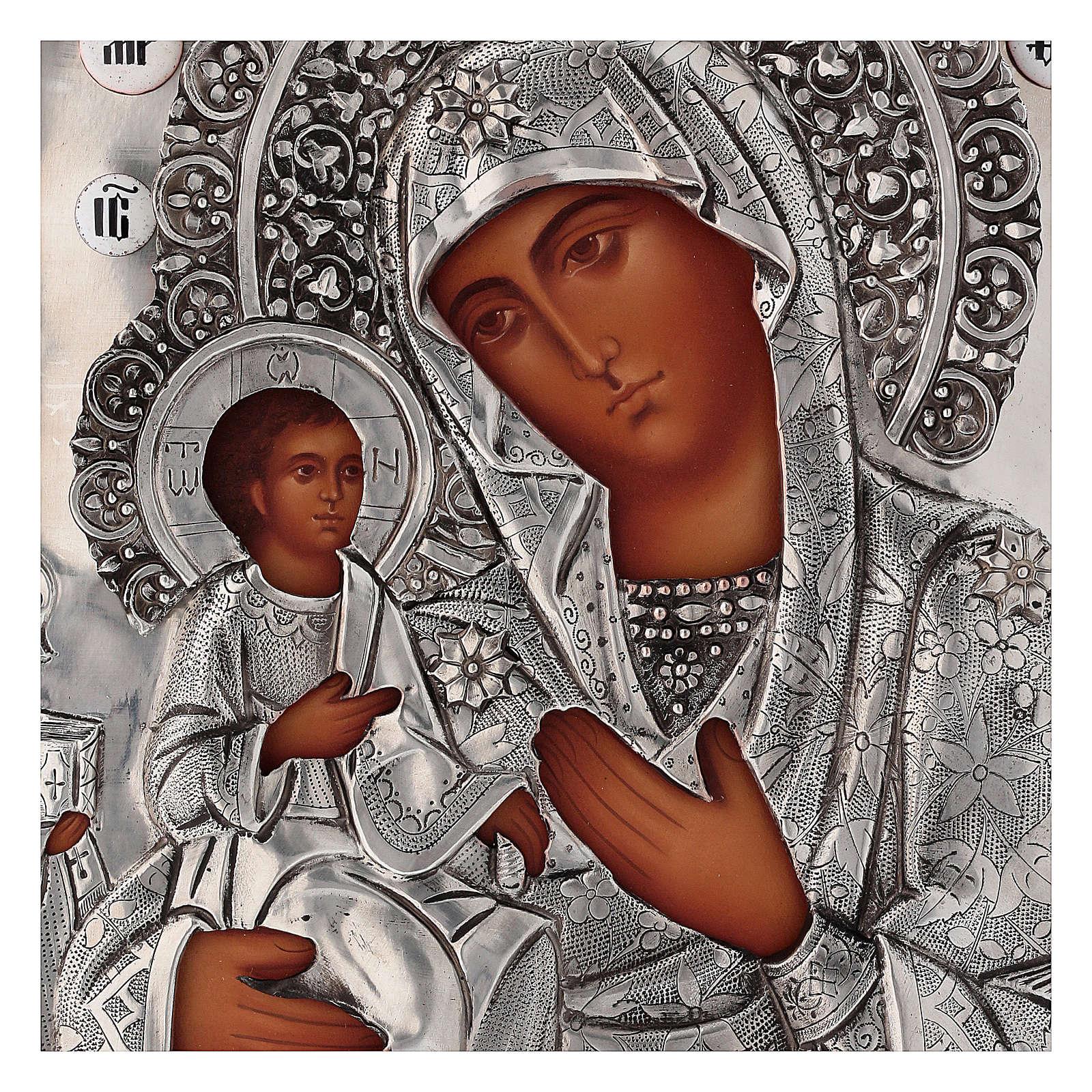 Icona Madonna di Troiensk tre mani 30x25 cm Polonia dipinta riza 4