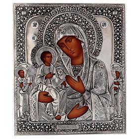 Icona Madonna di Troiensk tre mani 30x25 cm Polonia dipinta riza s1