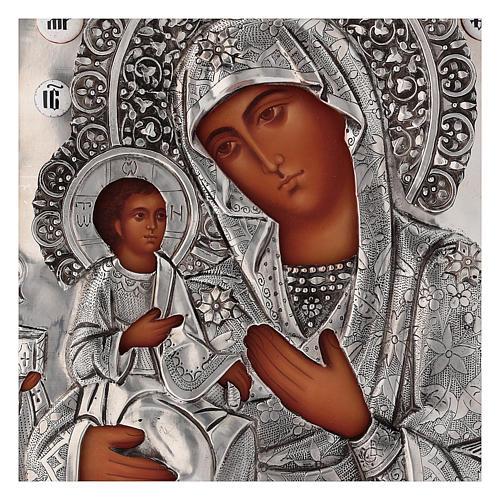 Icona Madonna di Troiensk tre mani 30x25 cm Polonia dipinta riza 2