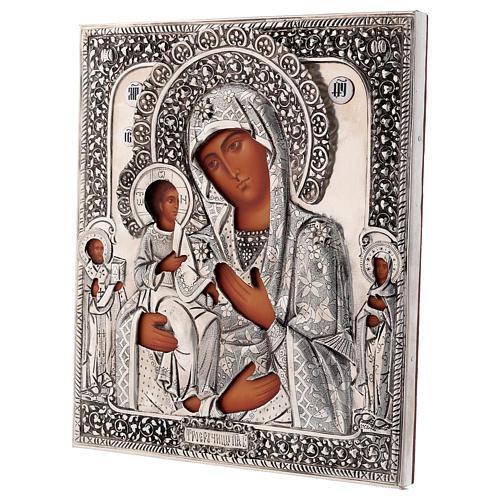 Icona Madonna di Troiensk tre mani 30x25 cm Polonia dipinta riza 3