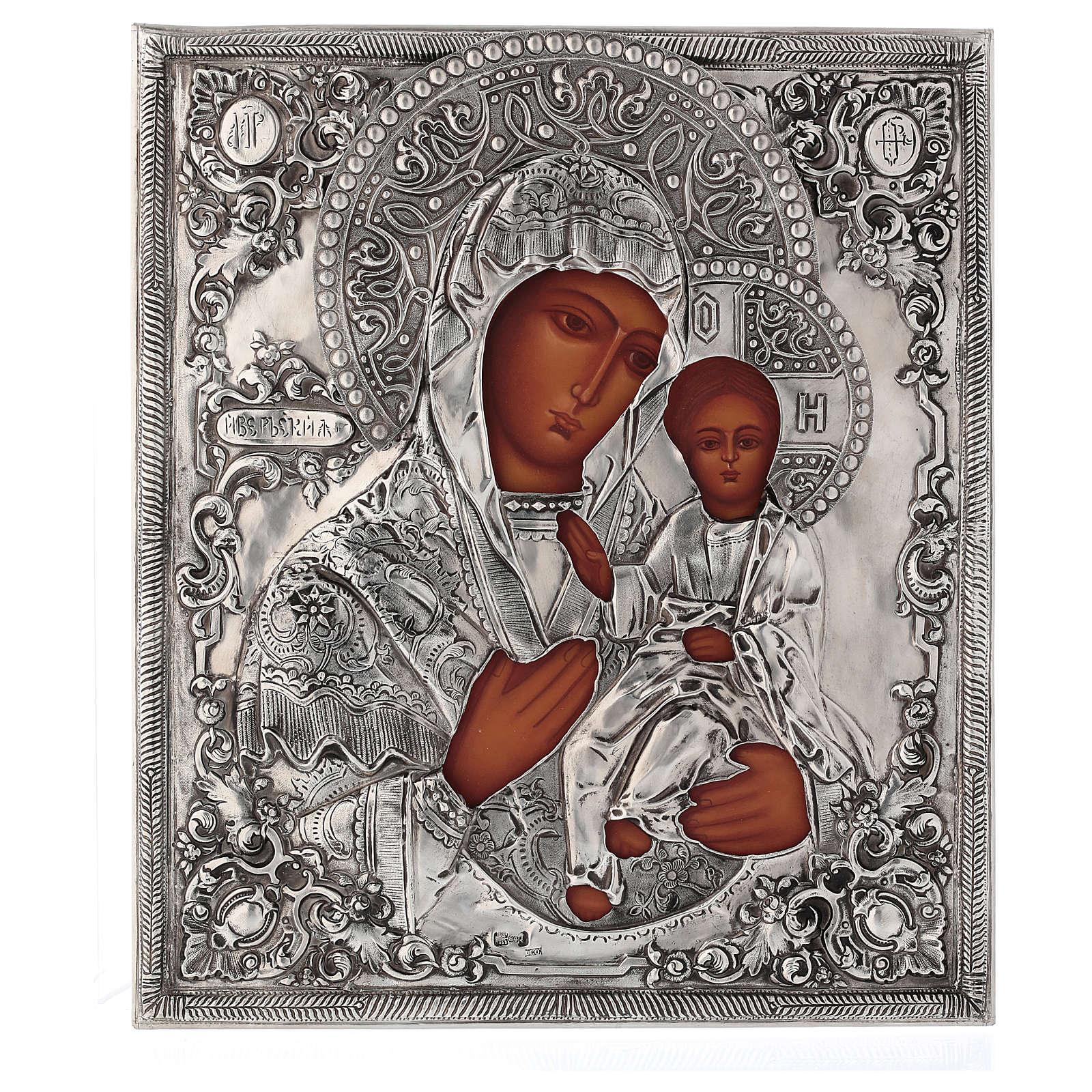 Icona Madonna di Ivron riza lucida Polonia 30x25 cm dipinta 4