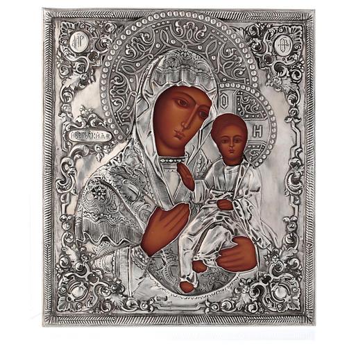 Icona Madonna di Ivron riza lucida Polonia 30x25 cm dipinta 1