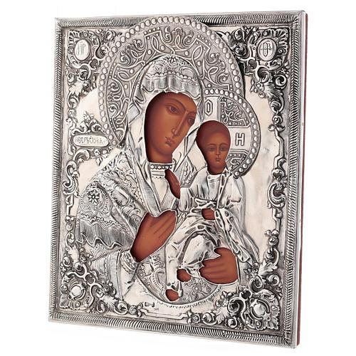 Icona Madonna di Ivron riza lucida Polonia 30x25 cm dipinta 3