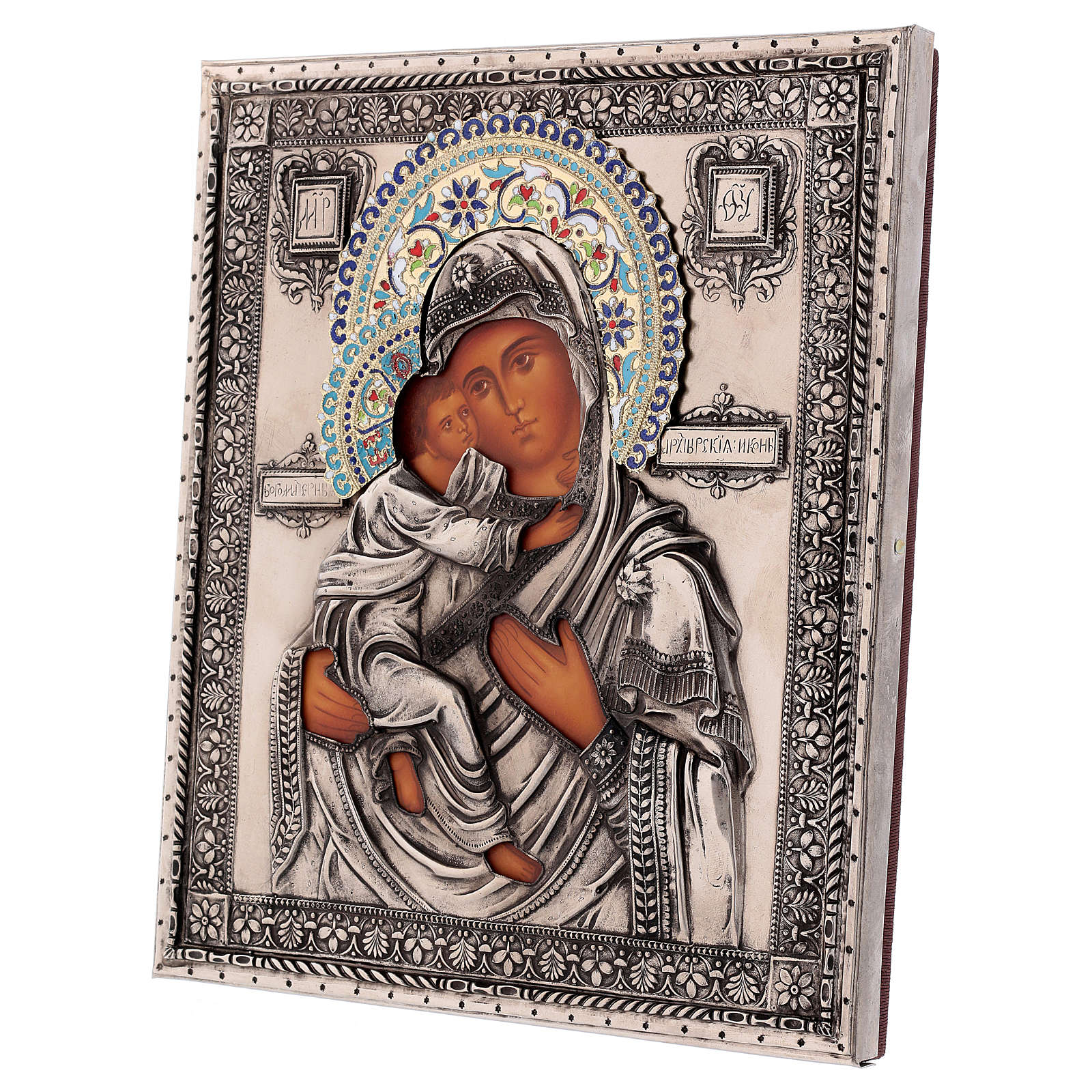 Icône émaillée Vierge de Vladimir peinte à la main 24x18 cm Pologne 4