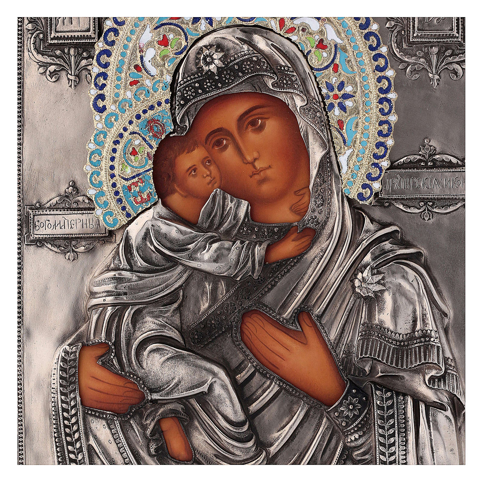 Ícone esmaltado Nossa Senhora de Vladimir pintado à mão 24x18 cm Polónia 4