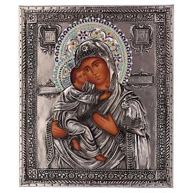 Ícone esmaltado Nossa Senhora de Vladimir pintado à mão 24x18 cm Polónia s1