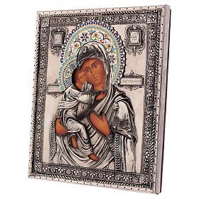 Ícone esmaltado Nossa Senhora de Vladimir pintado à mão 24x18 cm Polónia s3