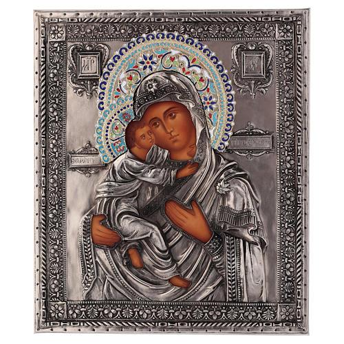 Ícone esmaltado Nossa Senhora de Vladimir pintado à mão 24x18 cm Polónia 1