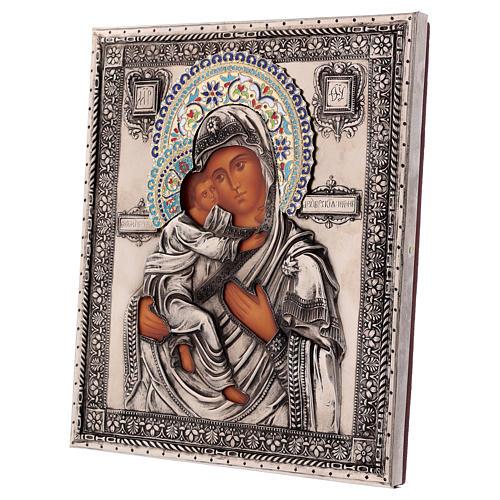 Ícone esmaltado Nossa Senhora de Vladimir pintado à mão 24x18 cm Polónia 3