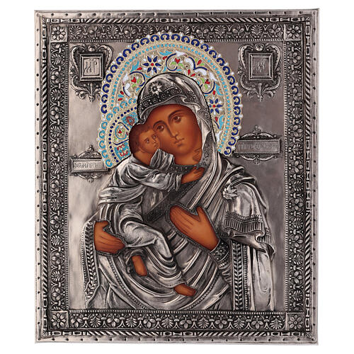 Icon Madonna of Vladimir enamel hand painted, 24x18 cm Poland 1