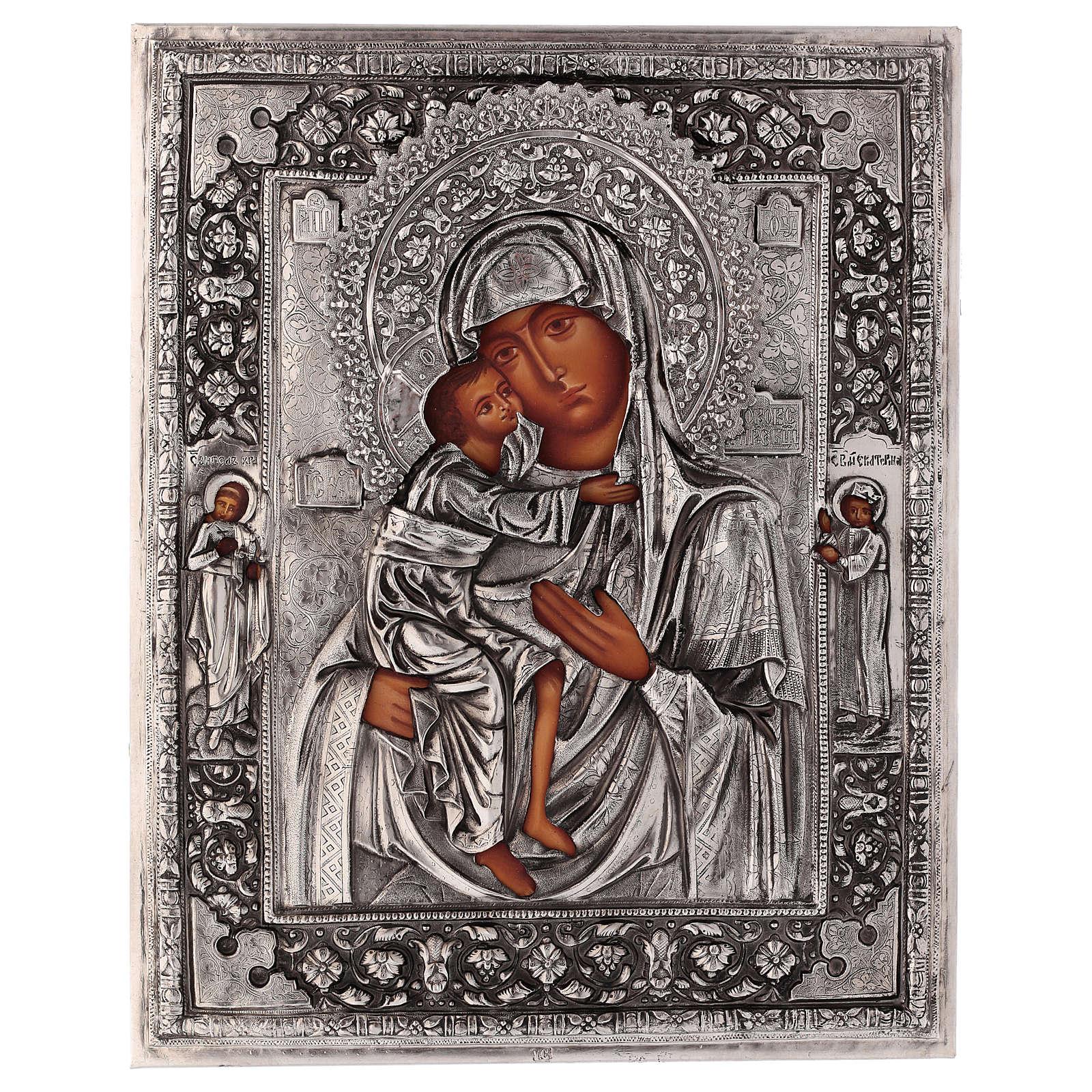 Icône Mère de Dieu Feodorovskaya peinte 20x16 cm Pologne riza 4