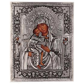 Icône Mère de Dieu Feodorovskaya peinte 20x16 cm Pologne riza s1