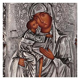 Icône Mère de Dieu Feodorovskaya peinte 20x16 cm Pologne riza s2
