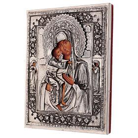 Icône Mère de Dieu Feodorovskaya peinte 20x16 cm Pologne riza s3