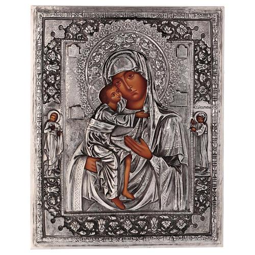 Icône Mère de Dieu Feodorovskaya peinte 20x16 cm Pologne riza 1