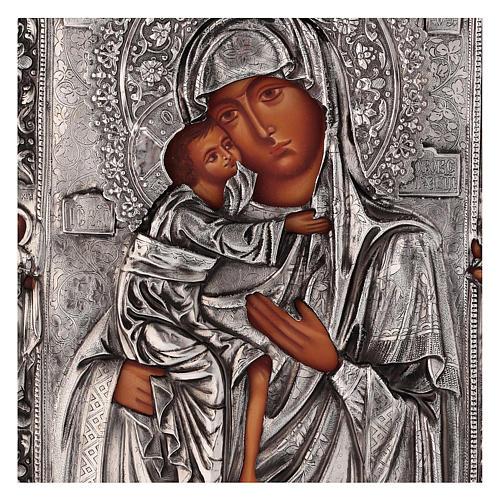 Icône Mère de Dieu Feodorovskaya peinte 20x16 cm Pologne riza 2